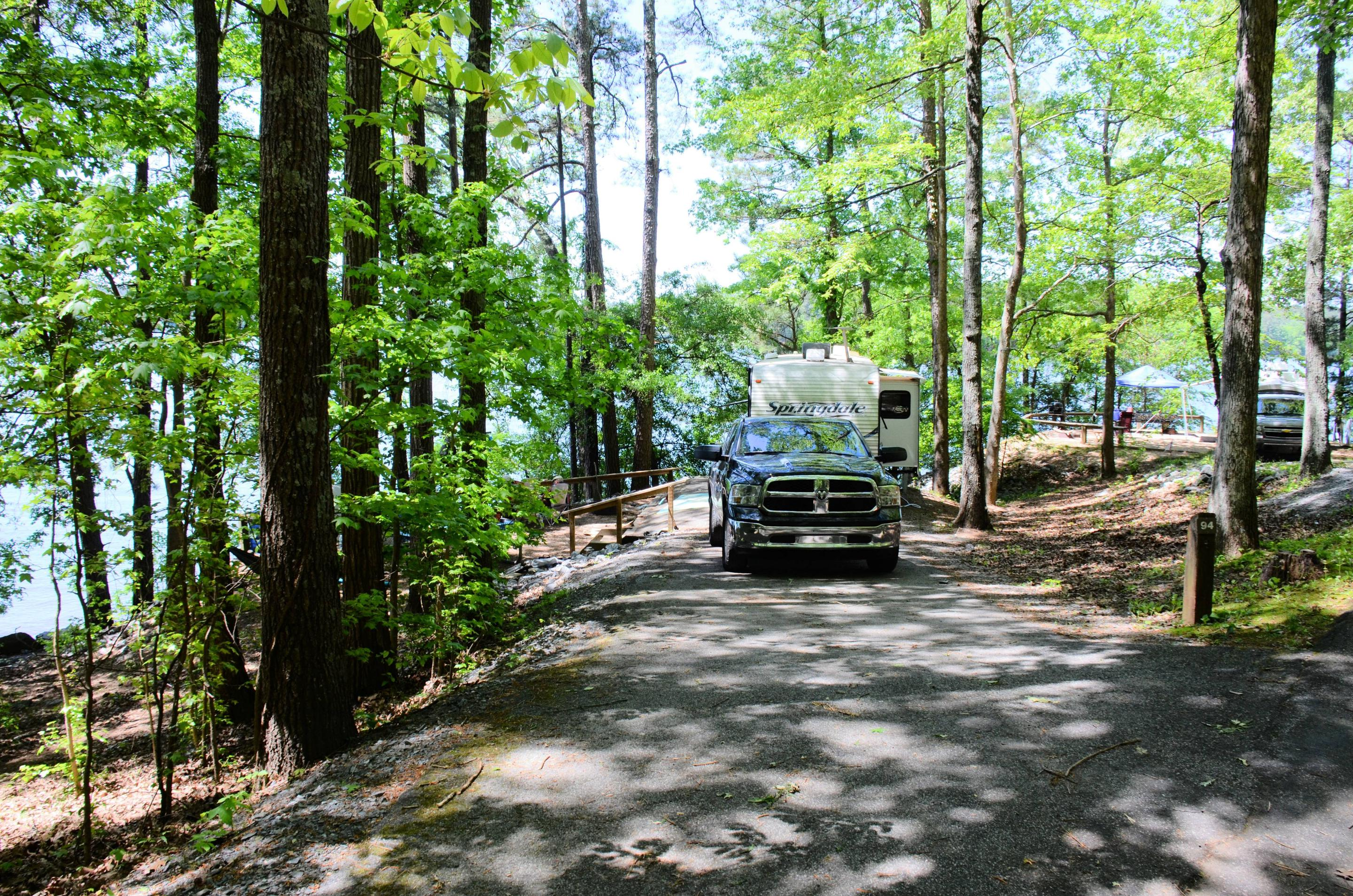 Driveway slope, awning-side clearance.McKinney Campground, campsite 94.