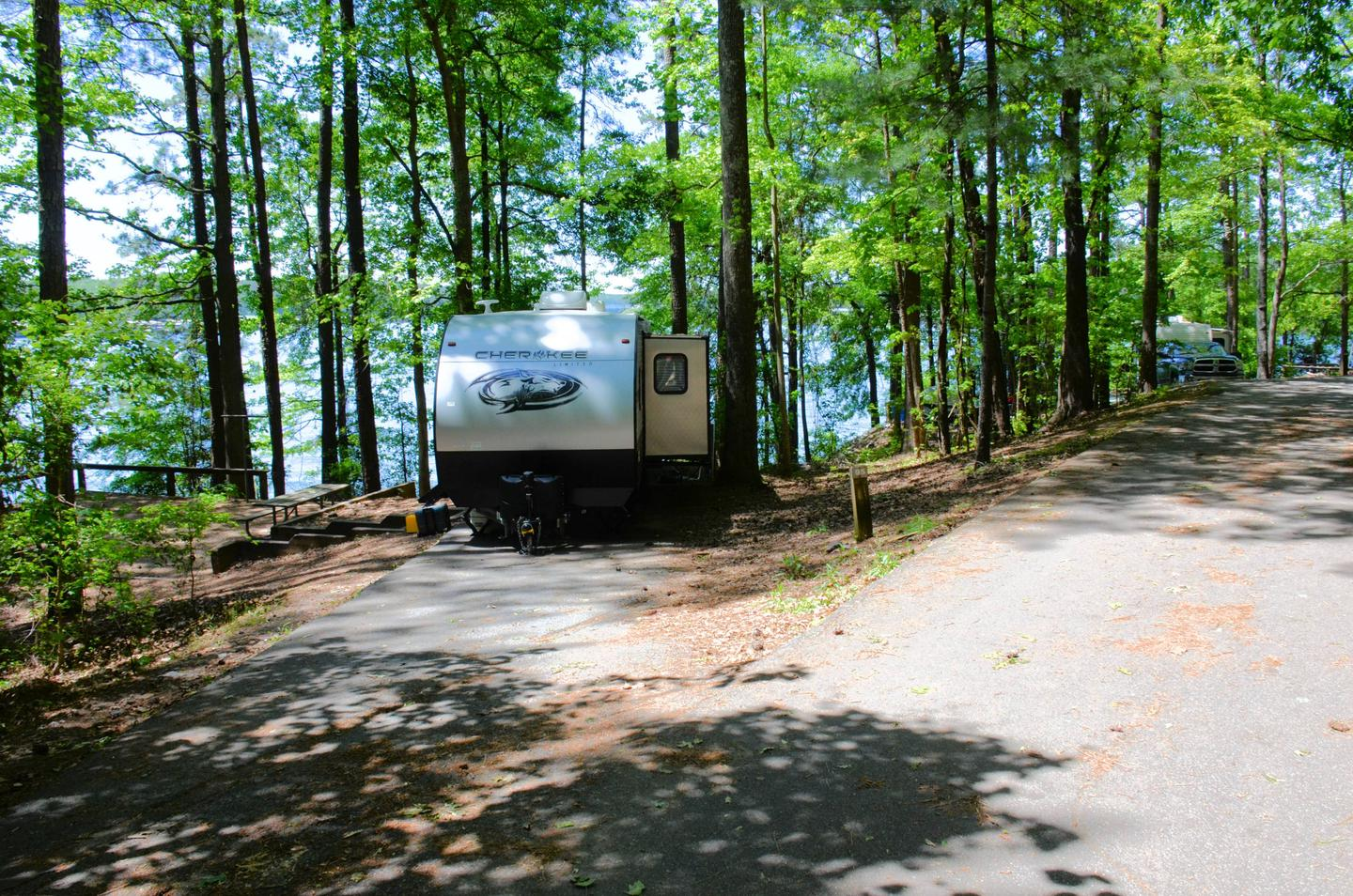 Driveway entrance angle/slope, utilities-side clearance.McKinney Campground, campsite 95.