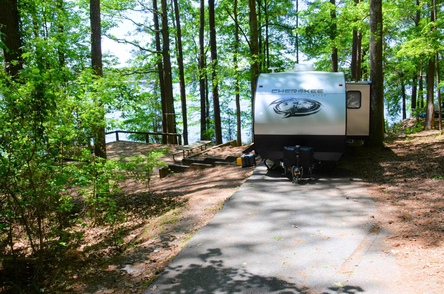 Driveway slope, awning-side clearance.McKinney Campground, campsite 95.