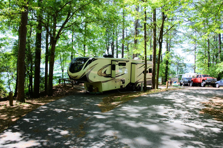 Pull-thru exit, driveway slope.McKinney Campground, campsite 98.
