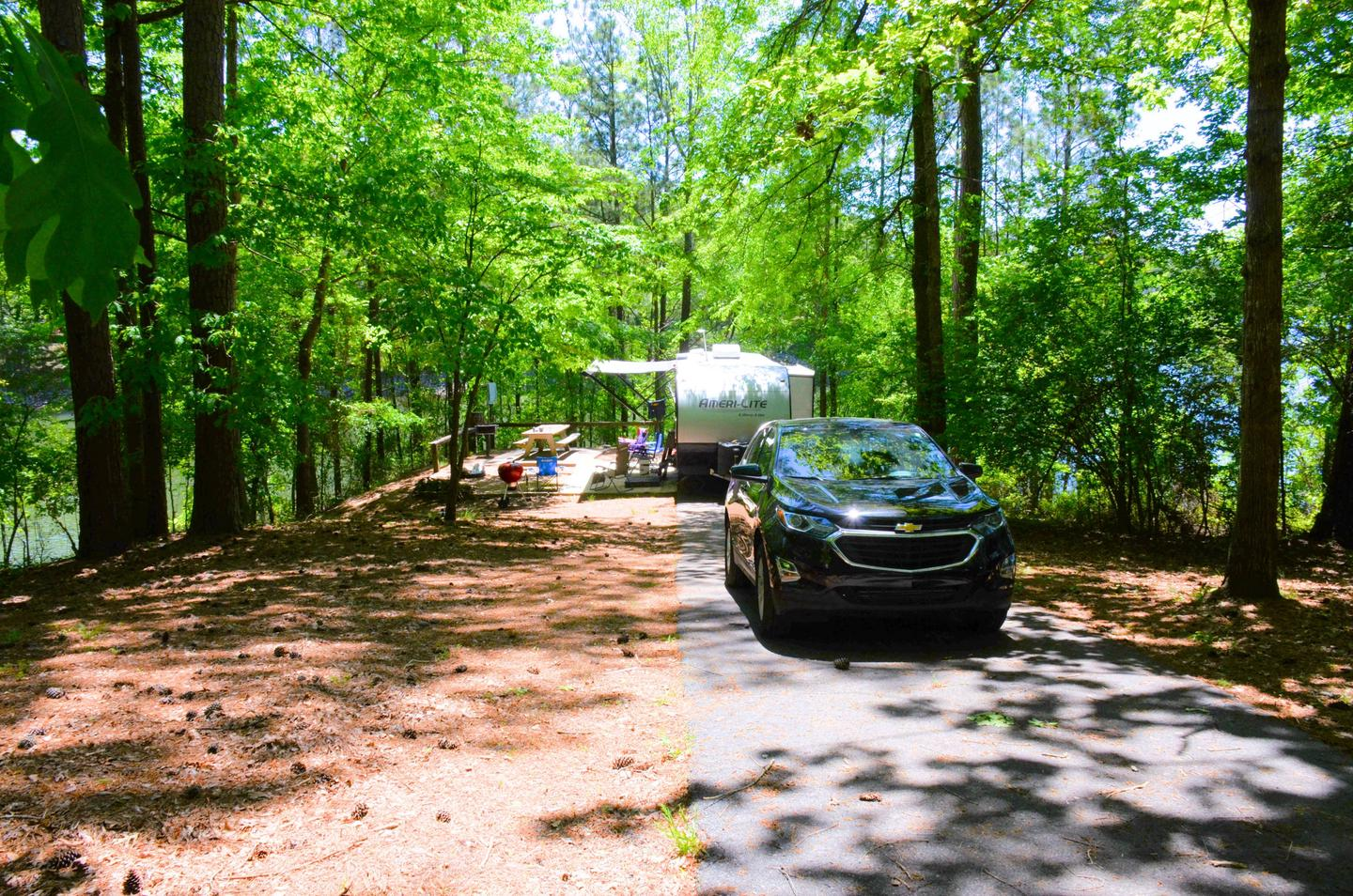 Driveway slope, awning-side clearance.McKinney Campground, campsite 99.