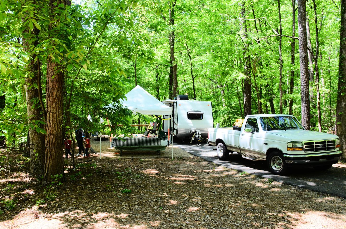 Driveway slope, awning-side clearance.McKinney Campground, campsite 103.