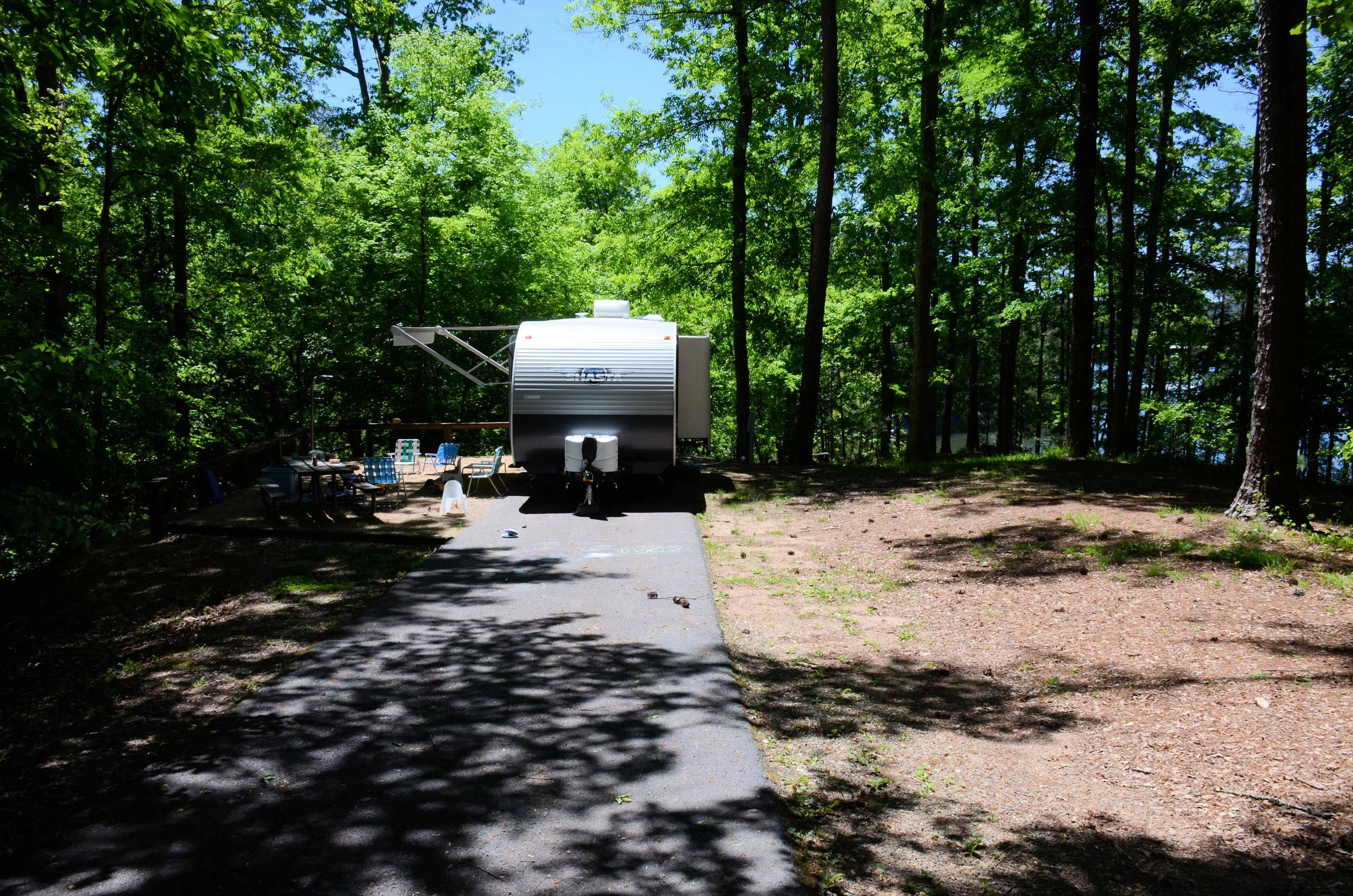 Driveway slope, utilities-side clearance.McKinney Campground, campsite 104.