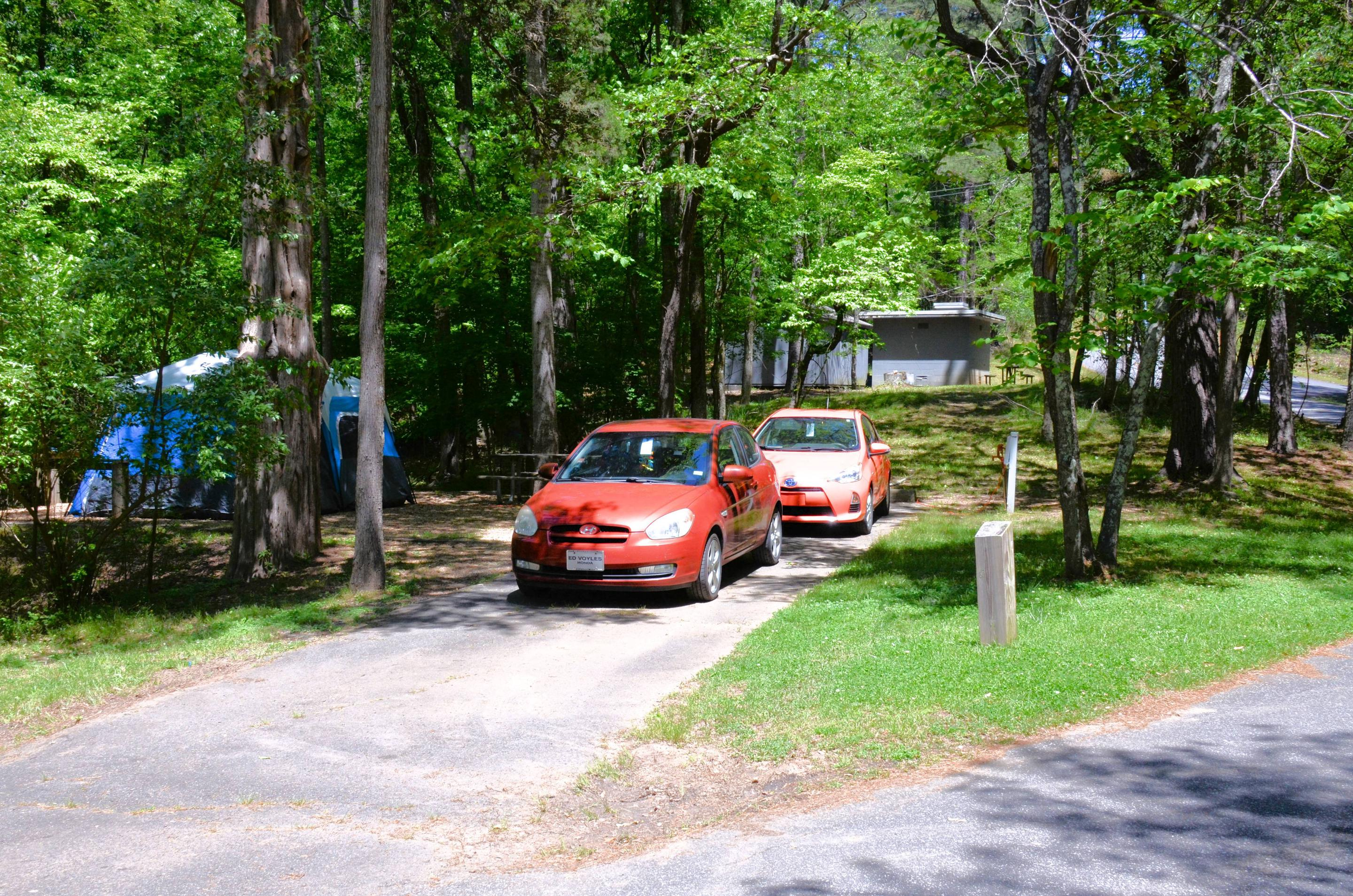 Driveway slope, utilities-side clearance.McKinney Campground, campsite 105.