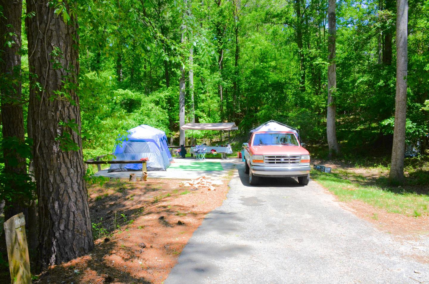 Driveway slope, awning side clearance.McKinney Campground, campsite 104.