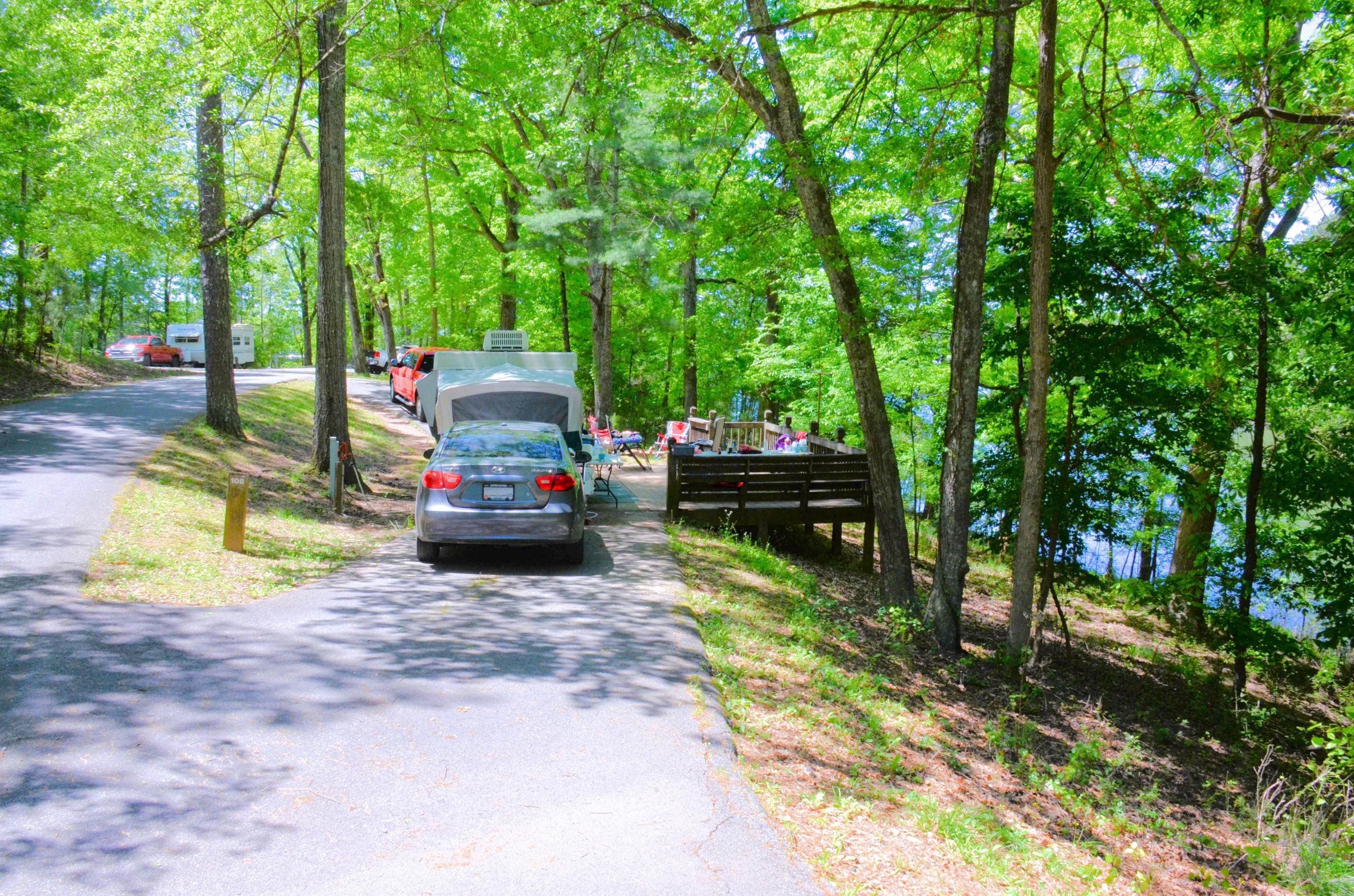 Pull-thru entrance, driveway slope.  awning-side clearance.McKinney Campground, campsite 108.