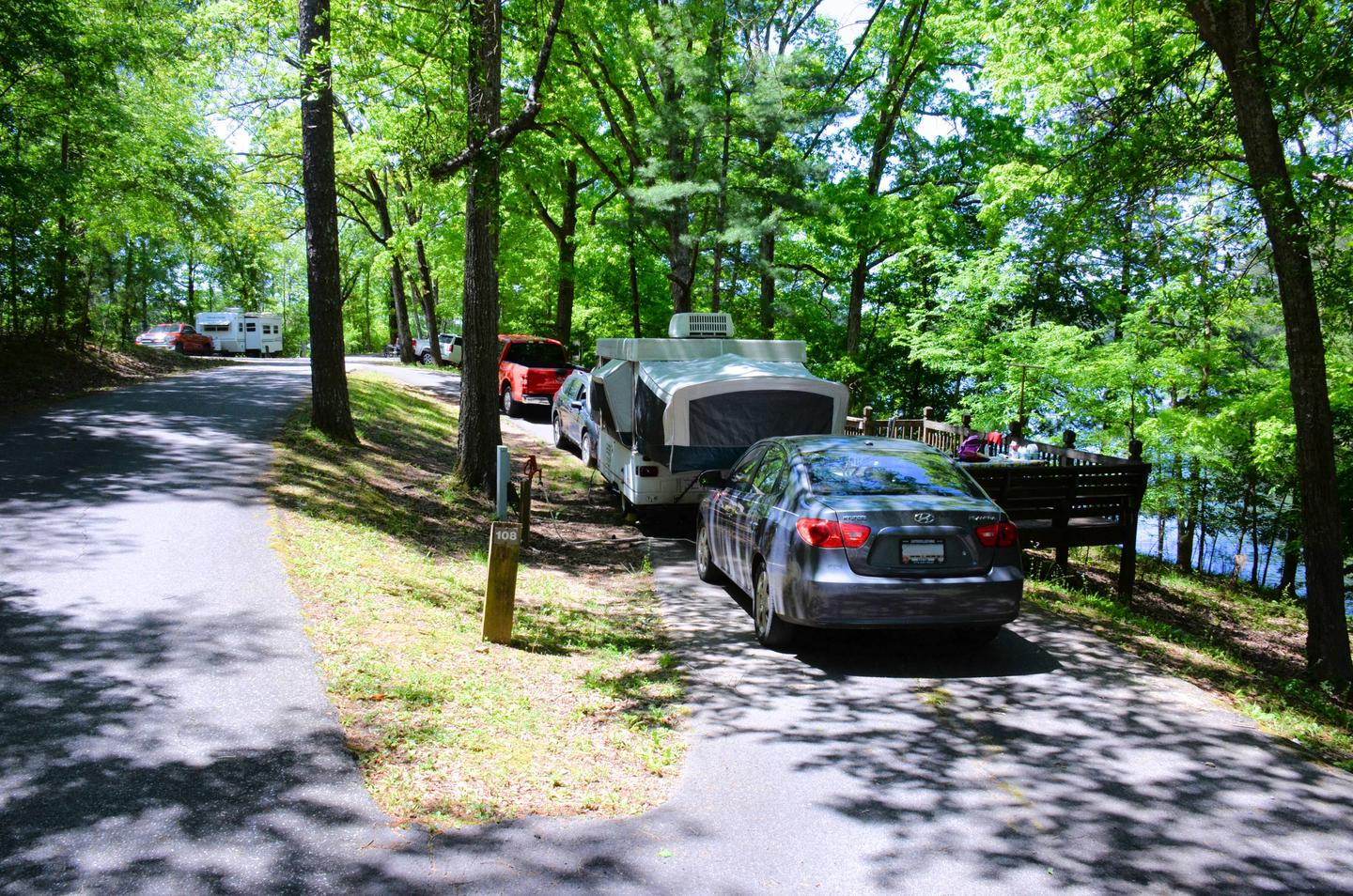 Pull-thru entrance, driveway slope, utilities-side clearance.McKinney Campground, campsite 108.