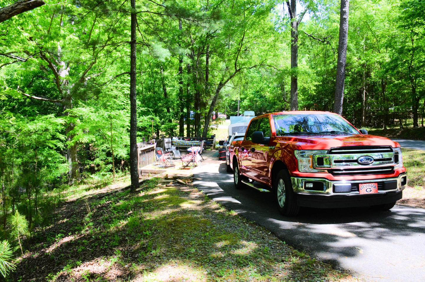 Pull-thru exit, driveway slope, awning-side clearance.McKinney Campground, campsite 108.