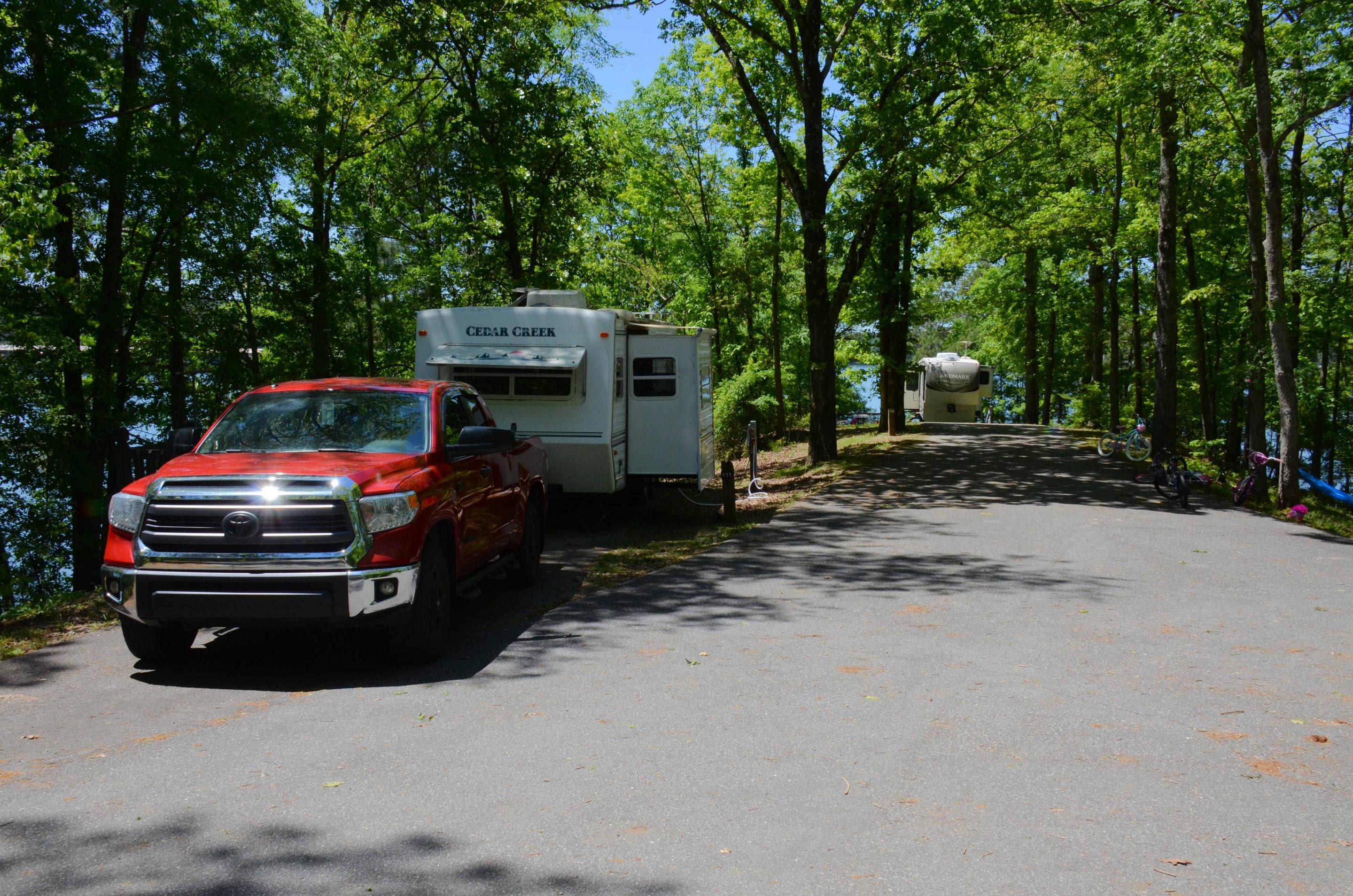 Driveway slope, utilities-side clearance.McKinney Campground, campsite 111.