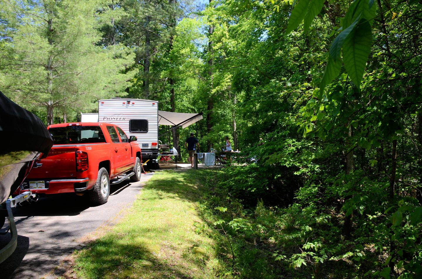 Pull-thru entrance, driveway slope, awning side clearance.McKinney Campground, campsite 116