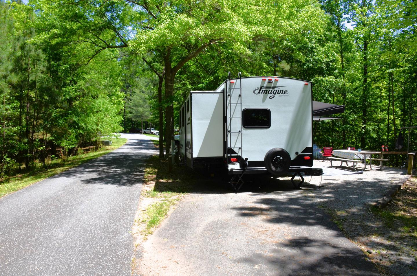Pull-thru entrance, driveway slope, utilities-side clearance.McKinney Campground, campsite 117.