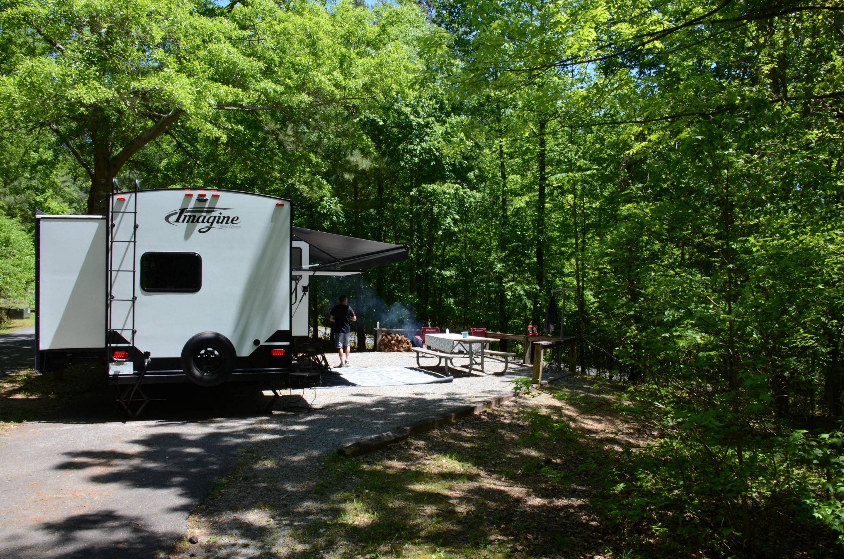 Campsite view, awning-side clearance.McKinney Campground, campsite 117.