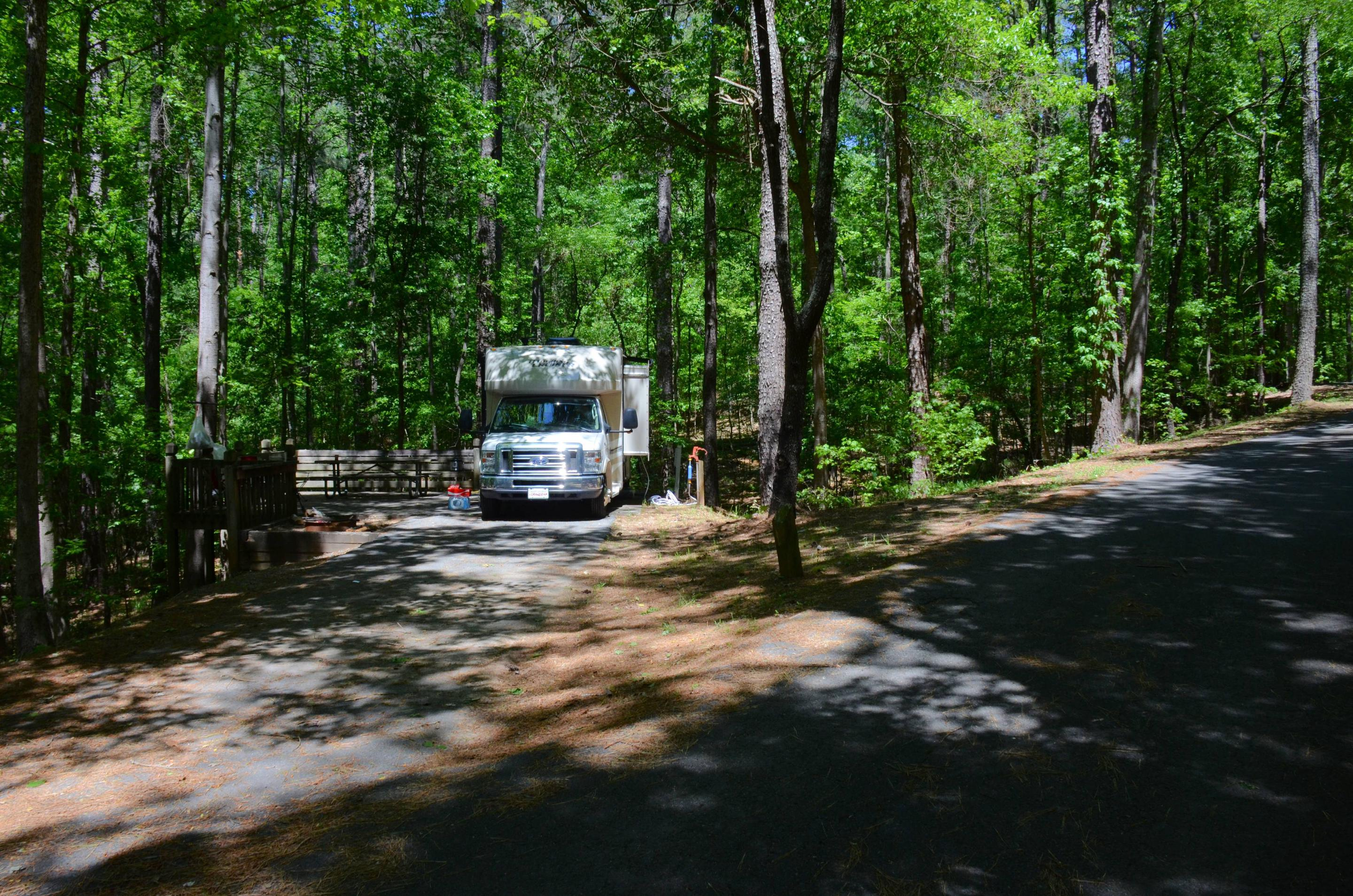 Driveway entrance angle/slope, utilities-side clearance, awning-side clearance.McKinney Campground, campsite 118.