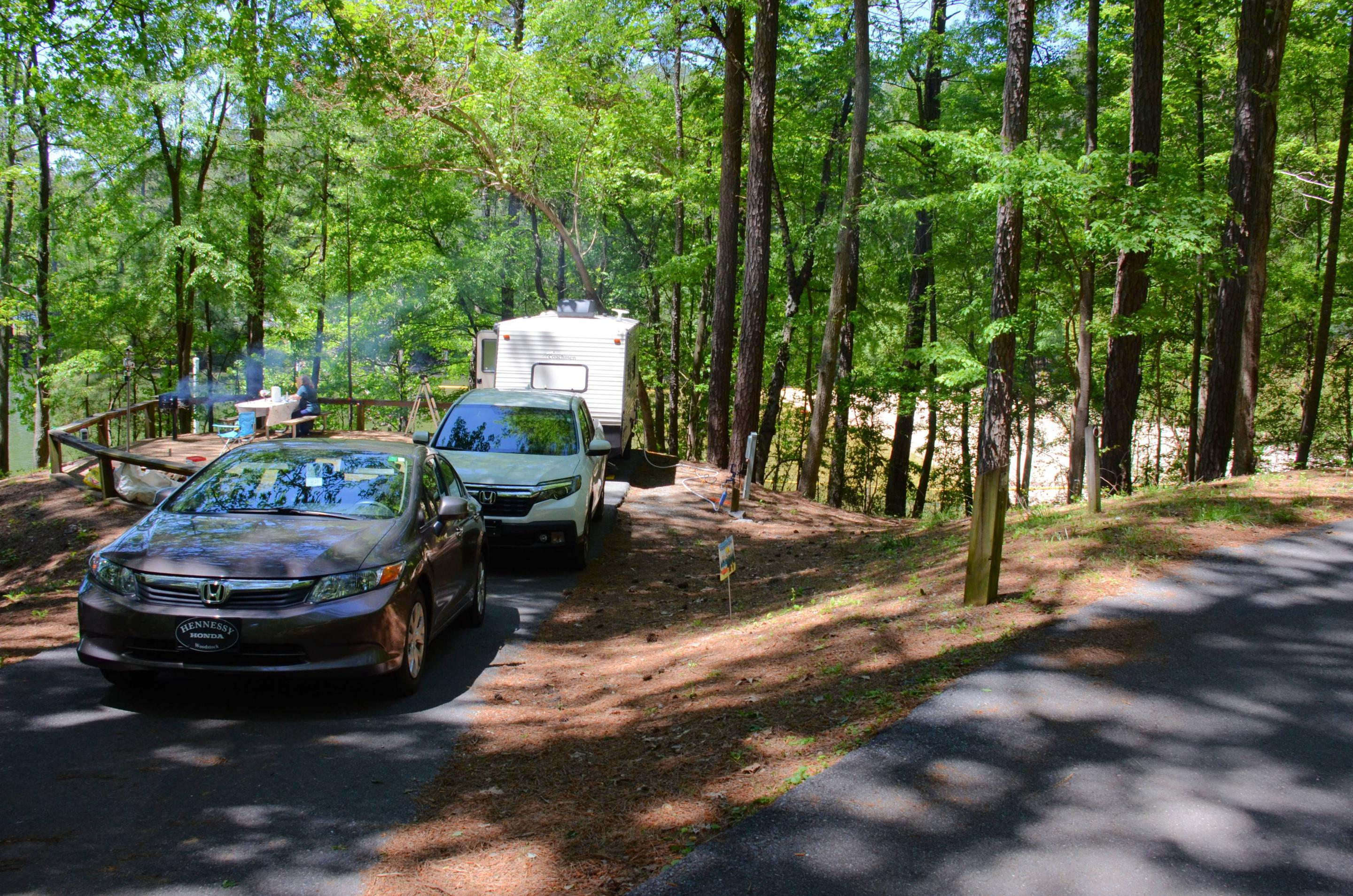 Driveway entrance angle/slope, utilities-side clearance.McKinney Campground, campsite 119.
