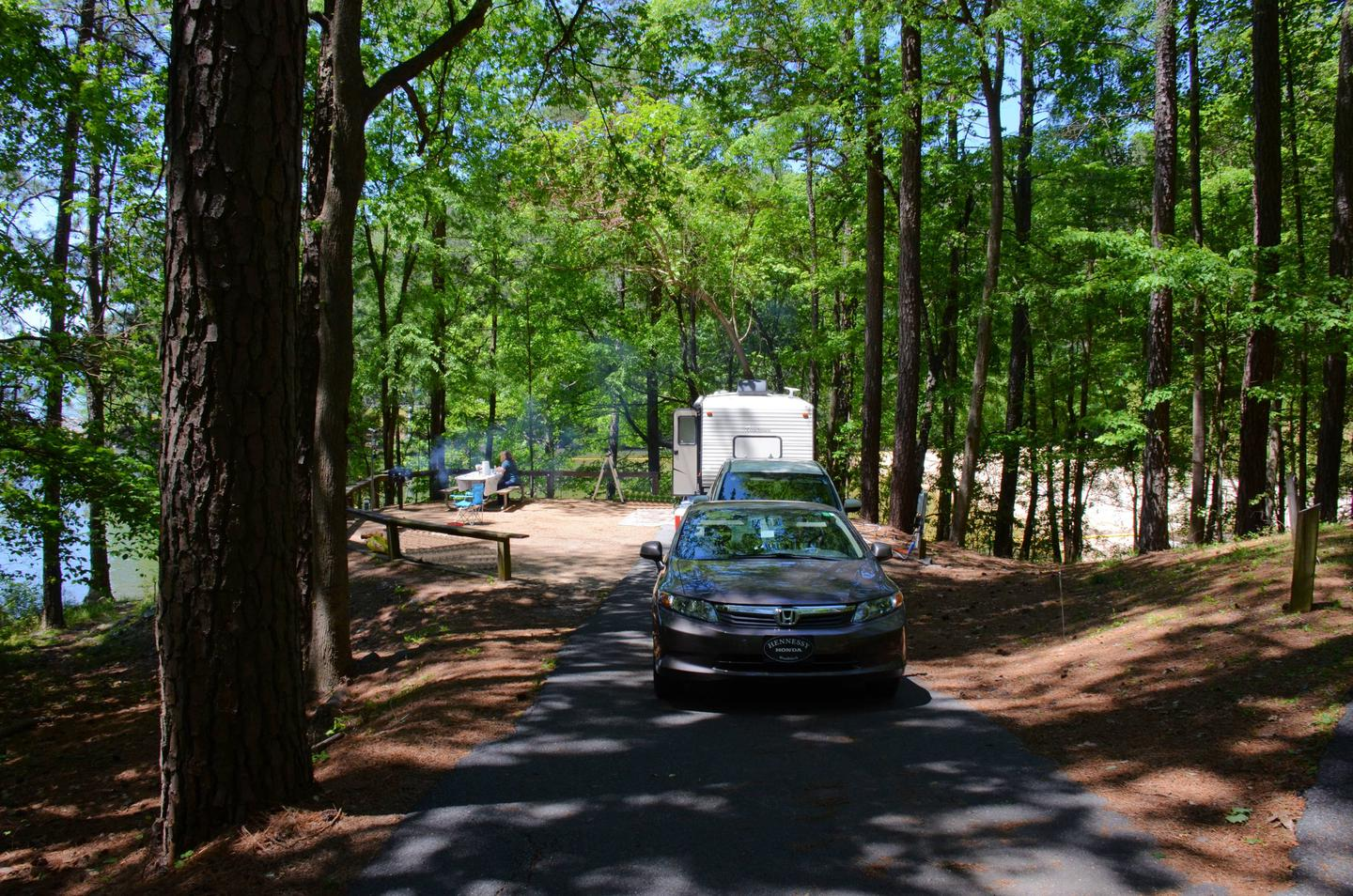 Driveway slope, awning-side clearance.McKinney Campground, campsite 119.