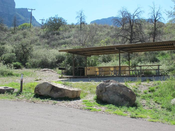 Group Site P - Shade structureShade structure with picnic tables, bear boxes, and grill underneath