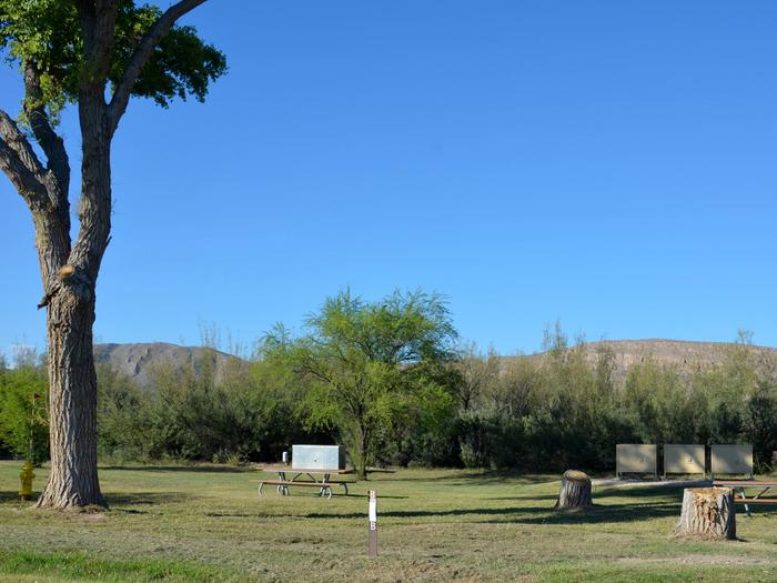 Site B with flat, grassy areas, picnic tables, and bear boxes