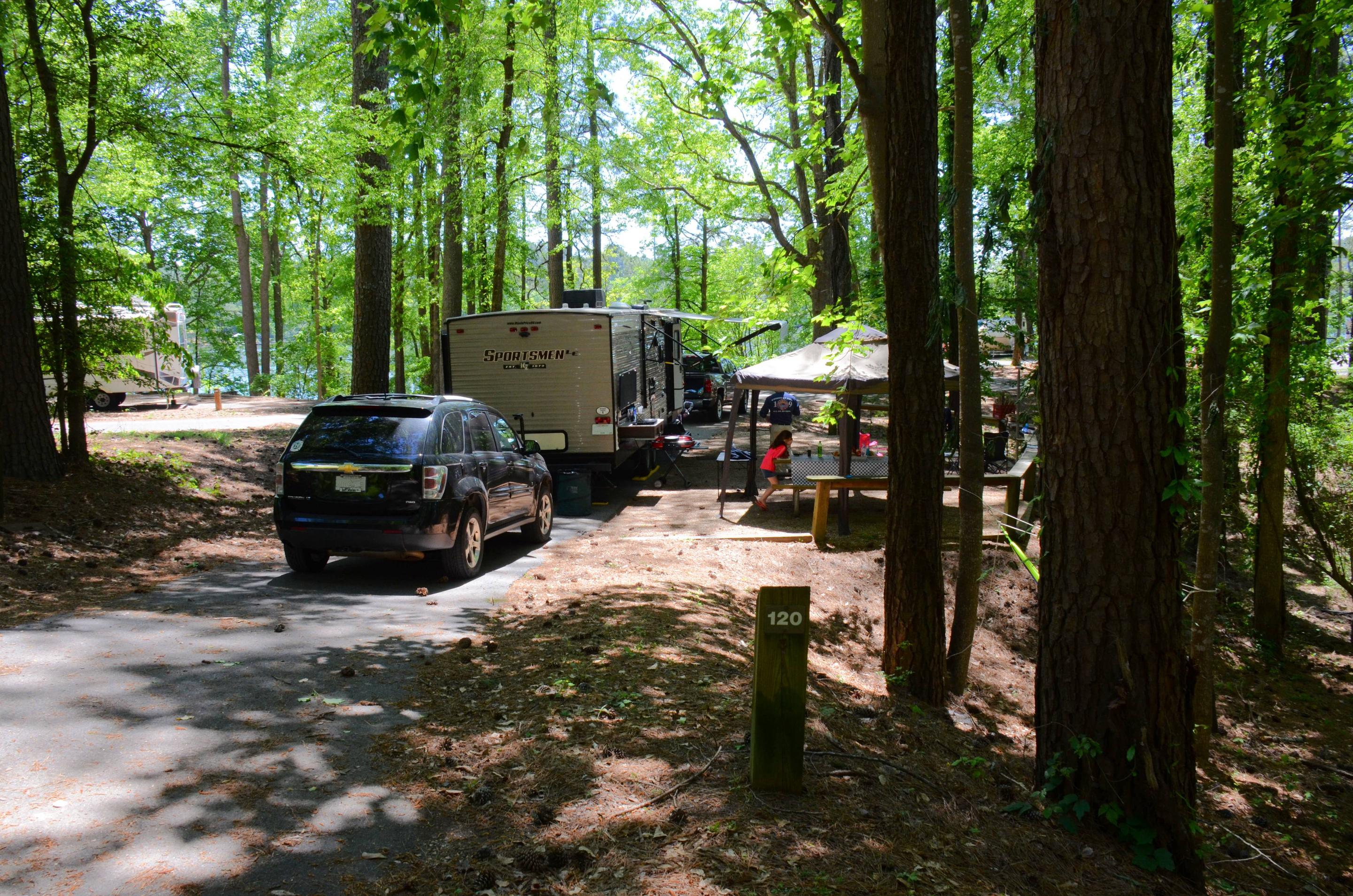 Pull-thru entrance, driveway slope, awning clearance.McKinney Campground, campsite 120.