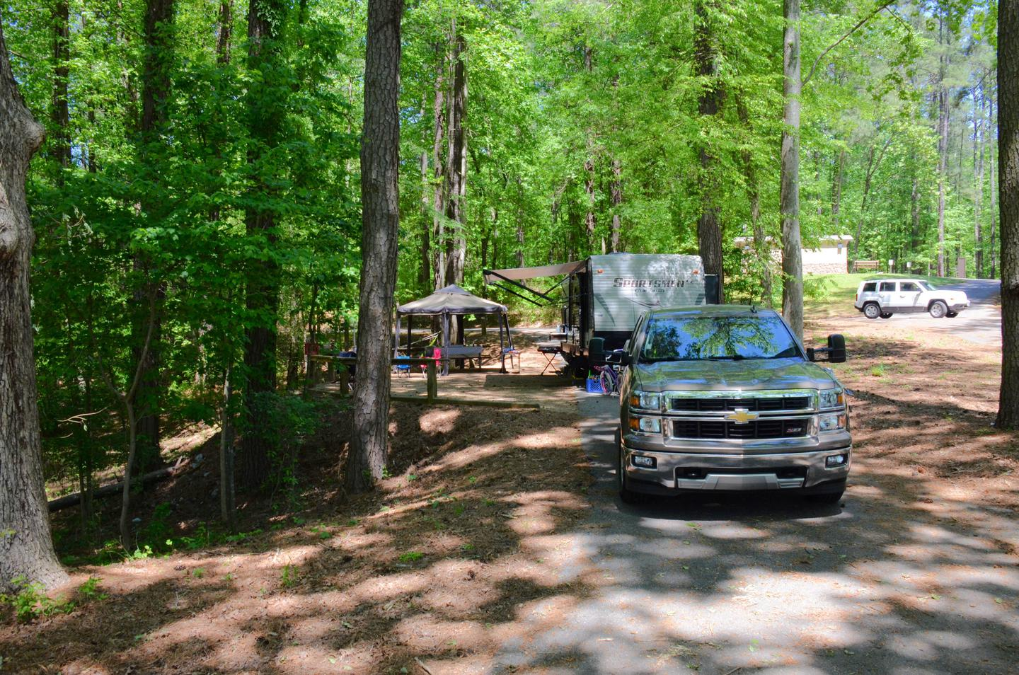 Pull-thru exit, awning-side clearance.McKinney Campground, campsite 120.