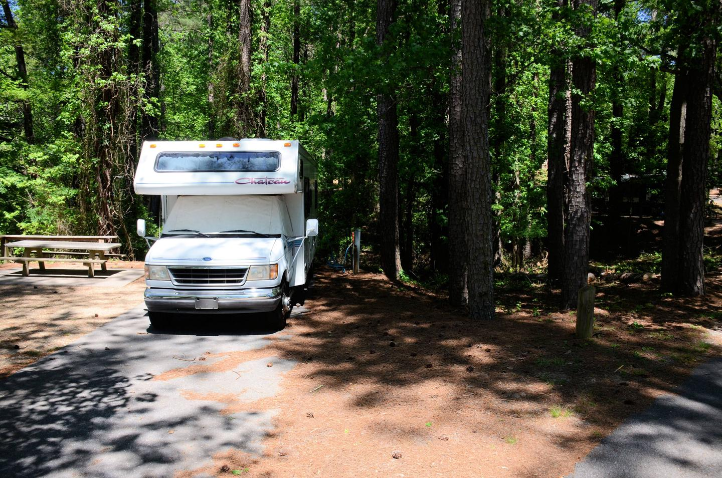 Driveway slope, utilities-side clearanceMcKinney Campground, campsite 121.