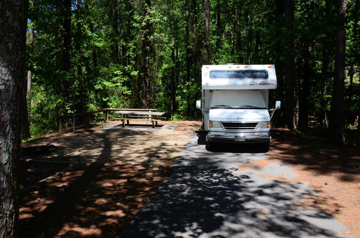 Campsite view, driveway slope, awning-side clearance.McKinney Campground, campsite 121.