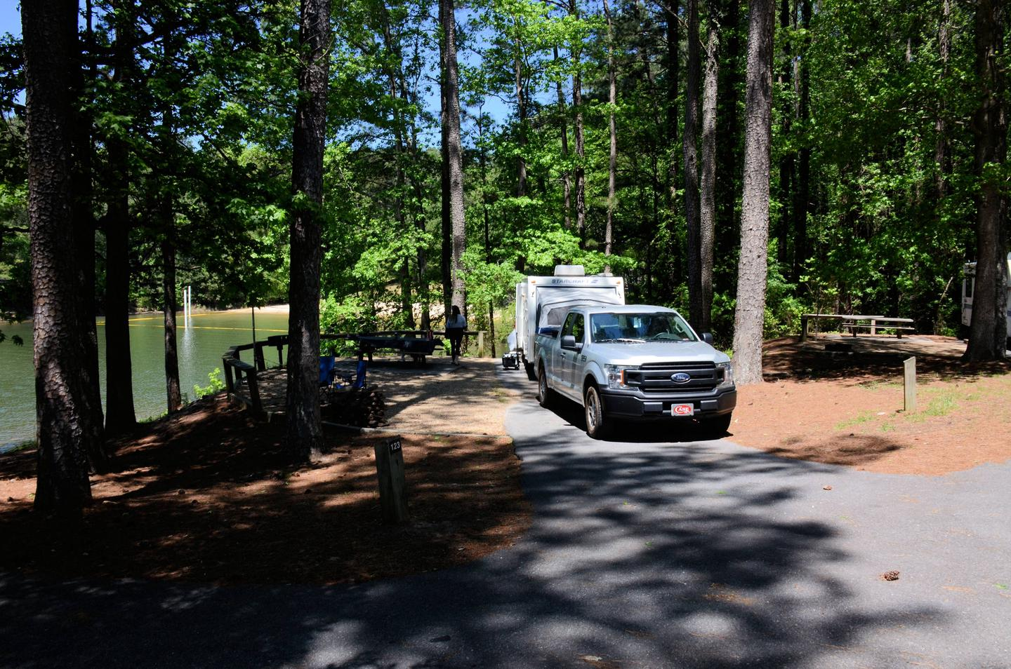 Driveway entrance, campsite view, awning-side clearance.McKinney Campground, campsite 122.