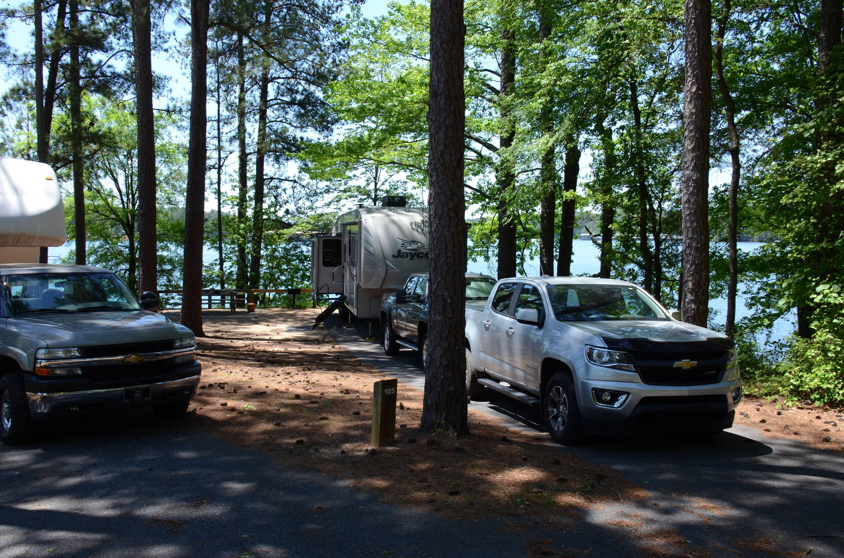 Driveway slope, awning-side clearance.McKinney Campground, campsite 124.