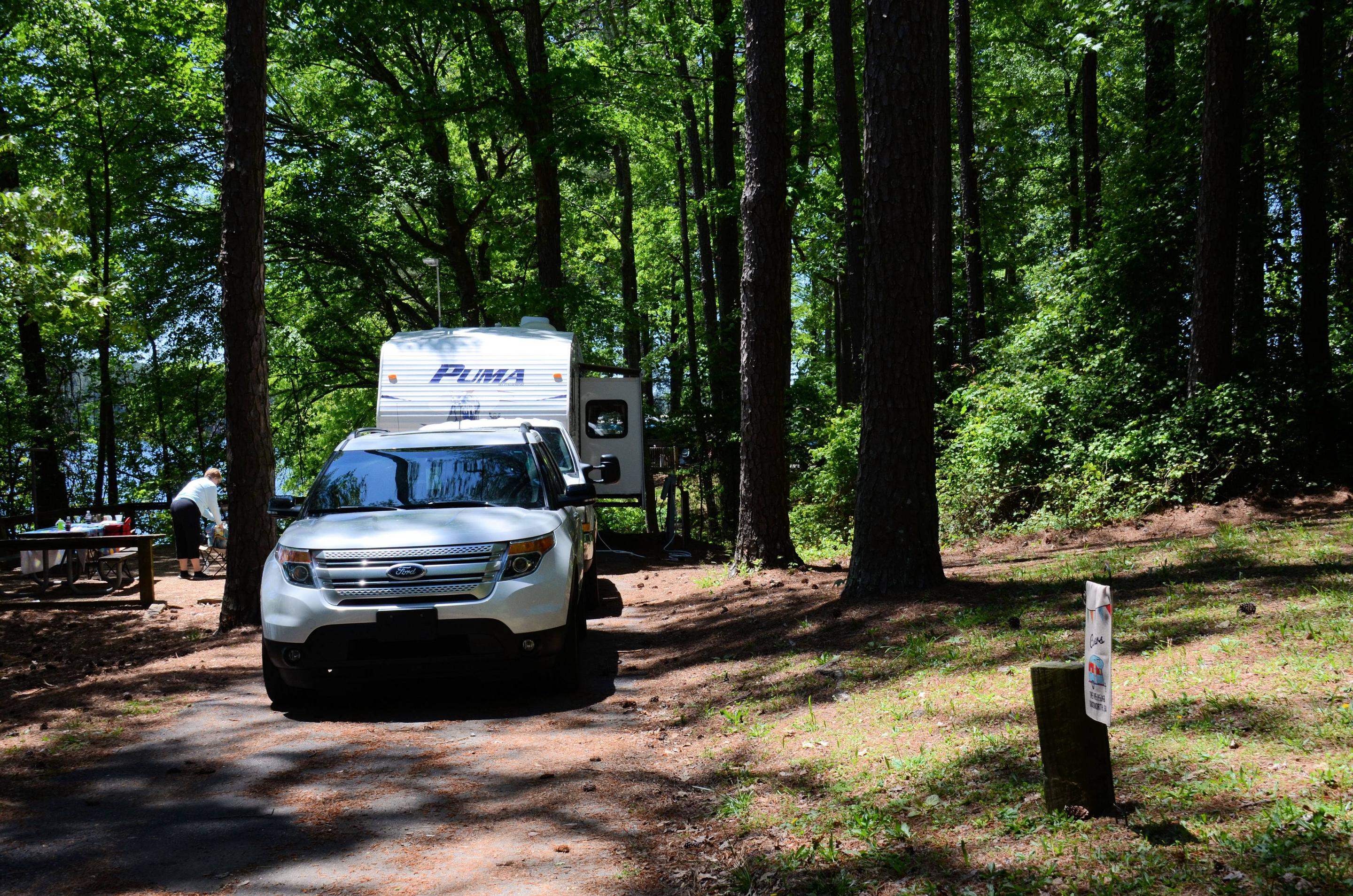 Driveway slope, utilities-side clearance.McKinney Campground, campsite 129.