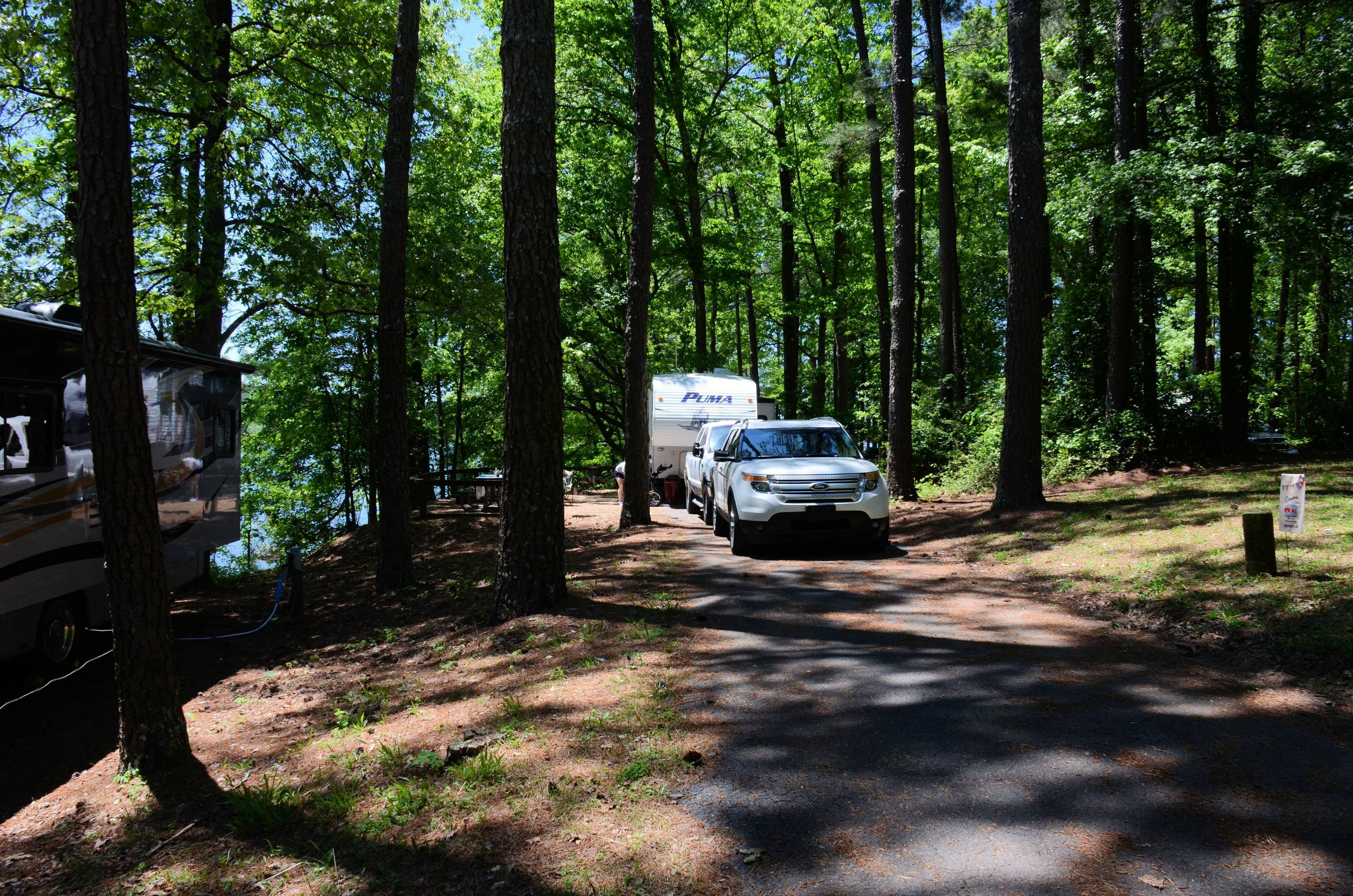 Driveway slope, awning-side clearance.McKinney Campground, campsite 129.