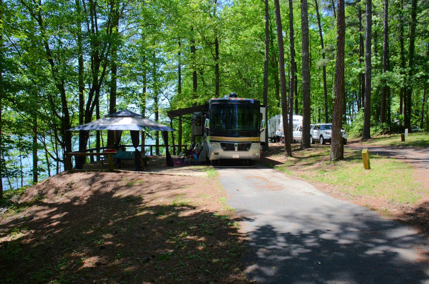 Driveway slope, awning-side clearance.McKinney Campground, campsite 130.