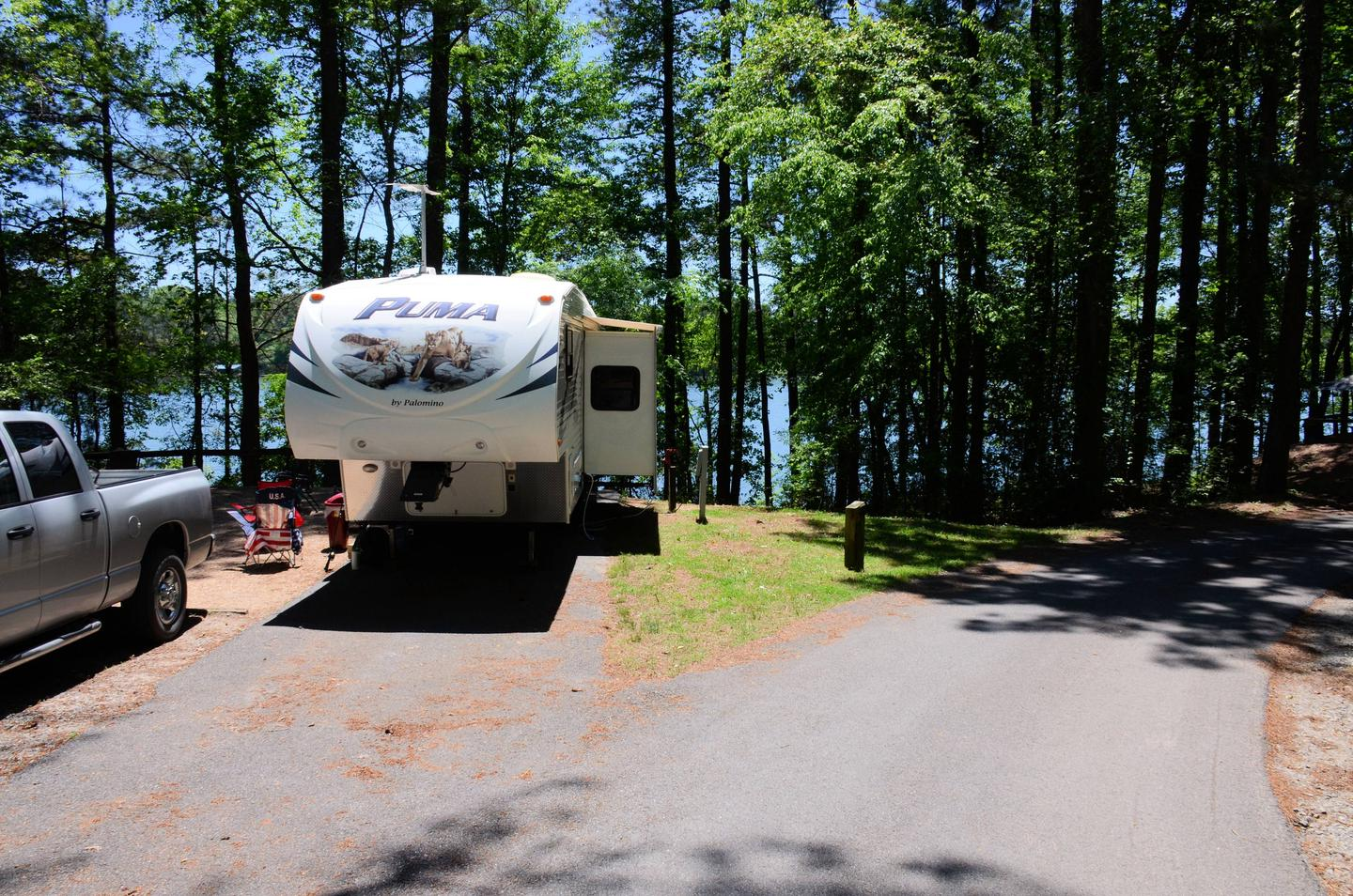 Driveway entrance angle/slope, utilities-side clearance.McKinney Campground, campsite 131.