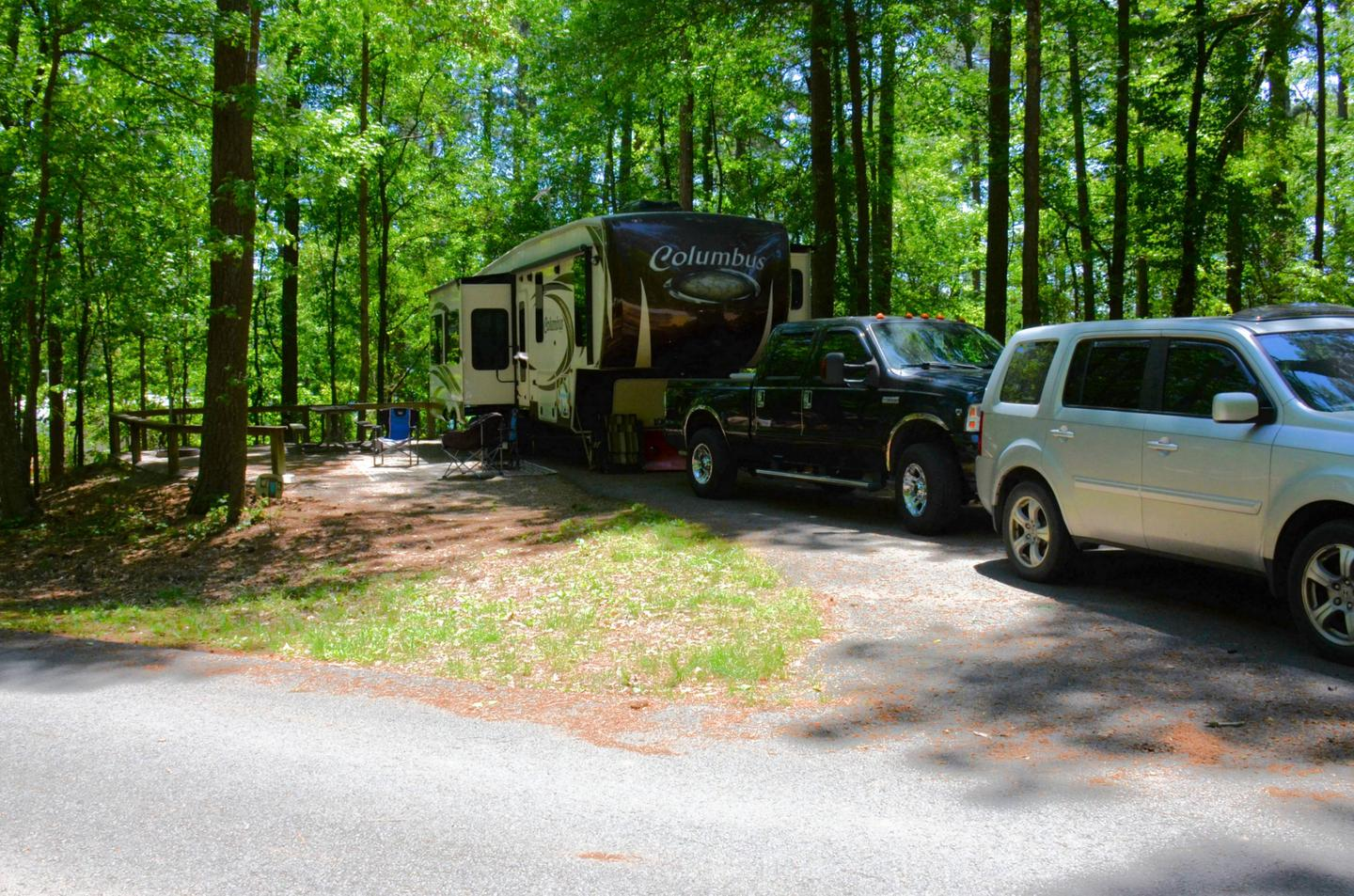 Driveway slope, awning-side clearance.McKinney Campground, campsite 134.