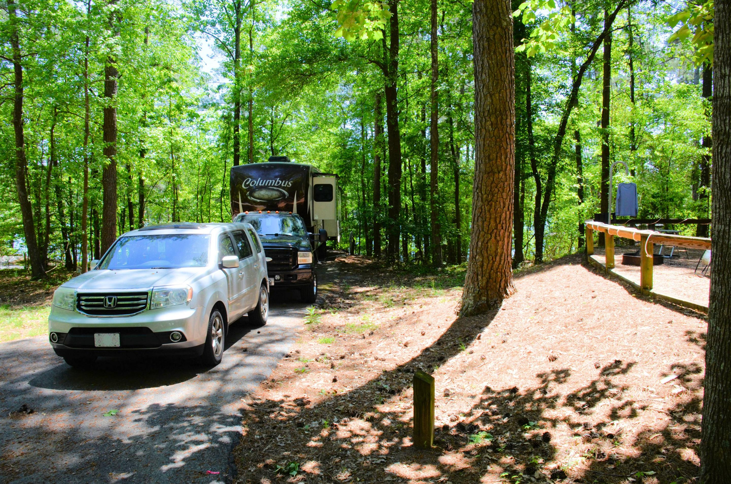 Driveway slope, utilities-side clearance.McKinney Campground, campsite 134.