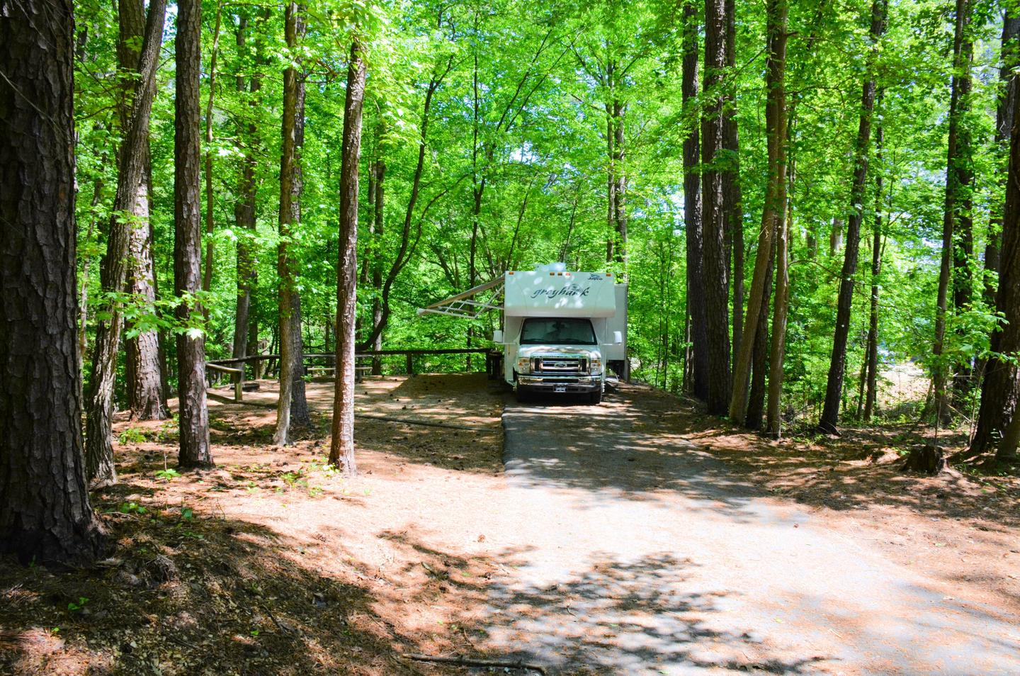 Driveway slope, awning-side clearance.McKinney Campground, campsite 136.