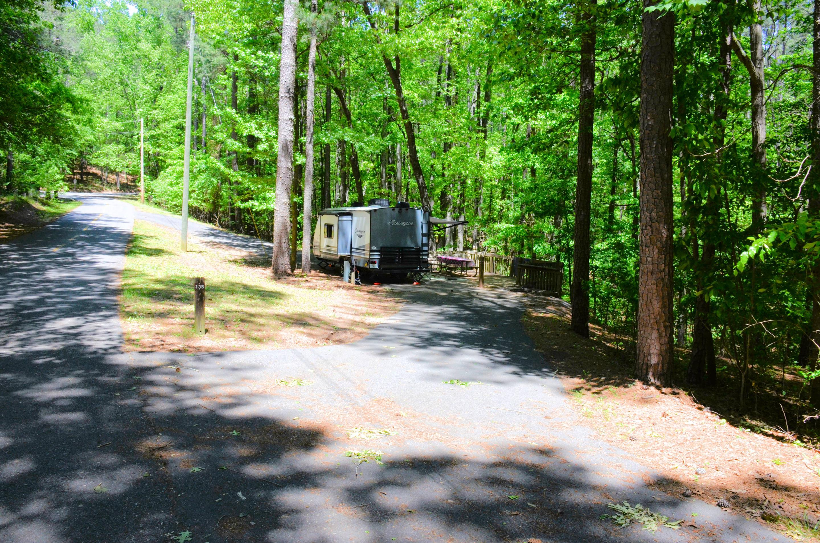 Pull-thru entrance, driveway slope, utilities-side clearance.McKinney Campground, campsite 138.