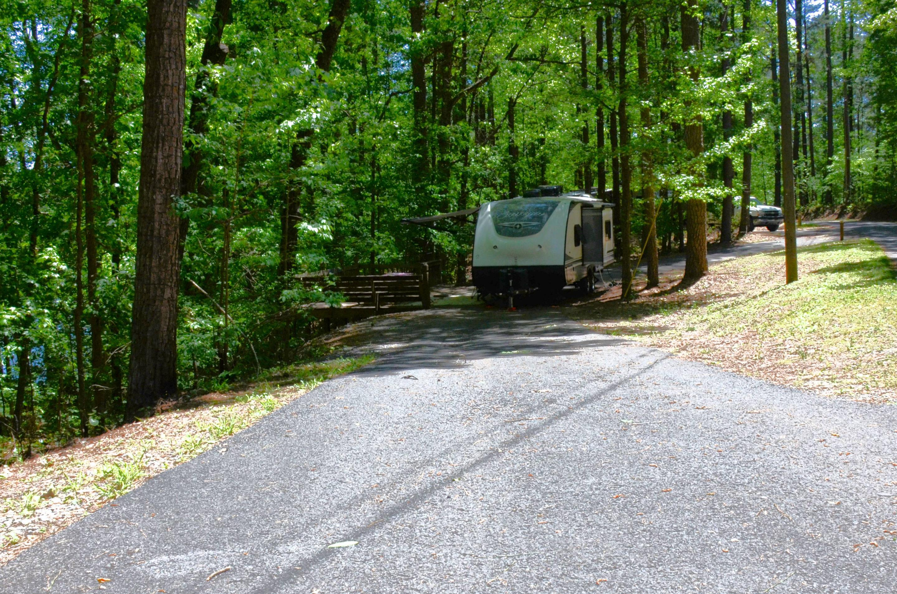 Pull-thru exit, driveway slope, awning-side clearance.McKinney Campground, campsite 138