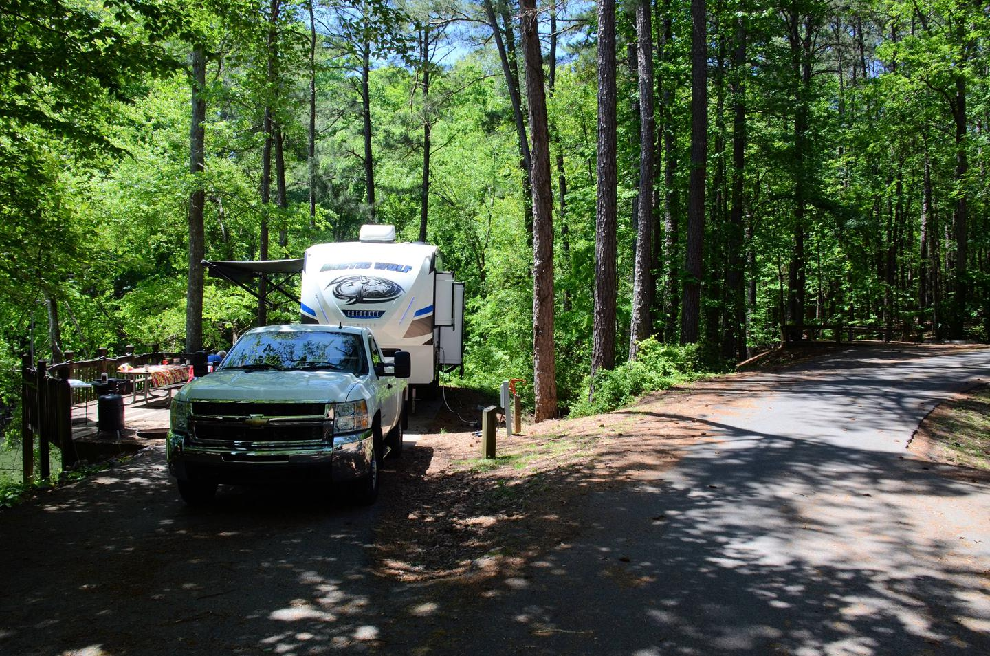 Driveway slope, utilities-side clearance.McKinney Campground, campsite 141.