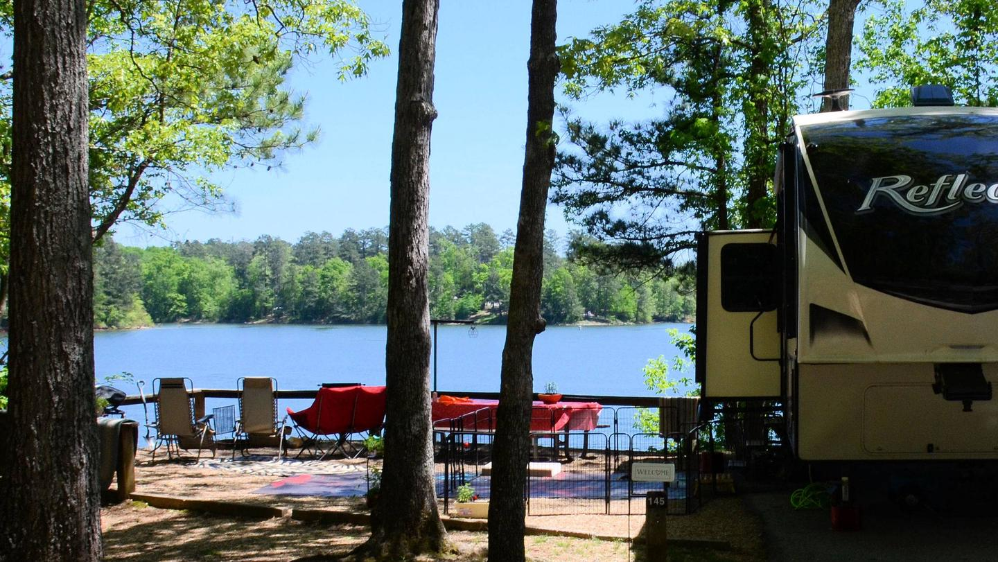 Campsite view, awning-side clearance.McKinney Campground, campsite 145.