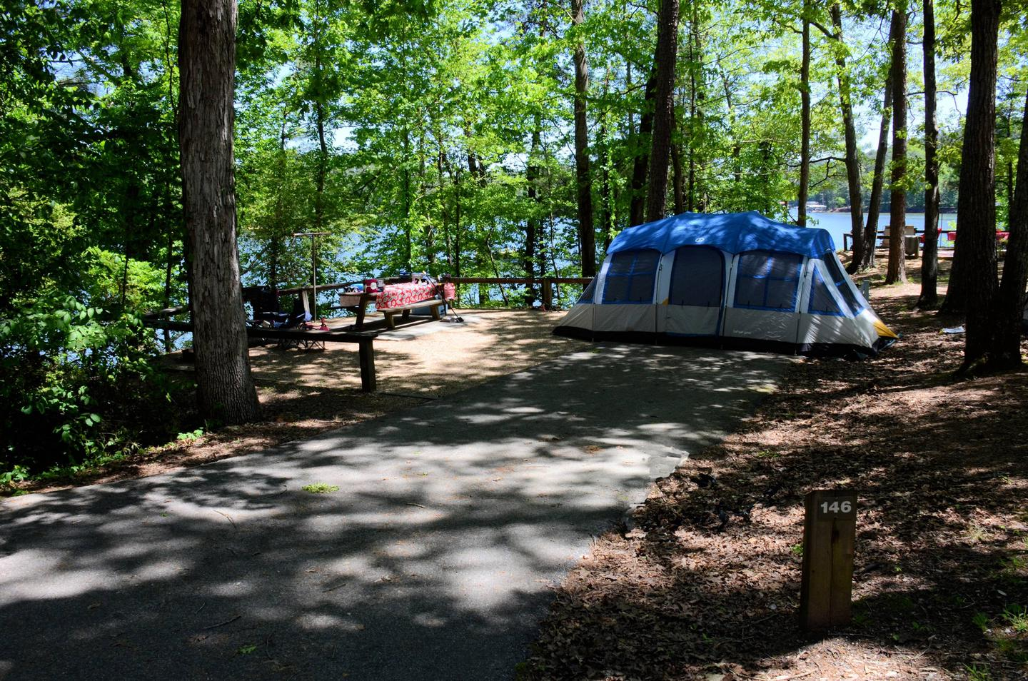 Driveway slope, campsite view, utilities-side clearance, awning-side clearance.McKinney Campground, campsite 146