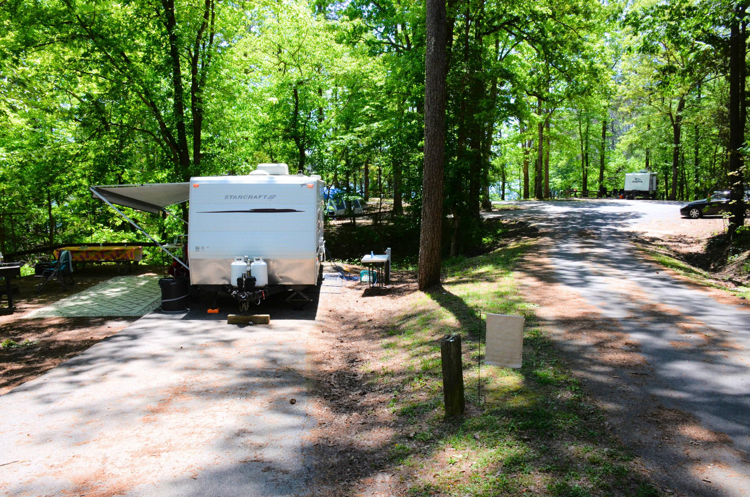 Driveway entrance angle/slope, utilities-side clearance.McKinney Campground, campsite 147.