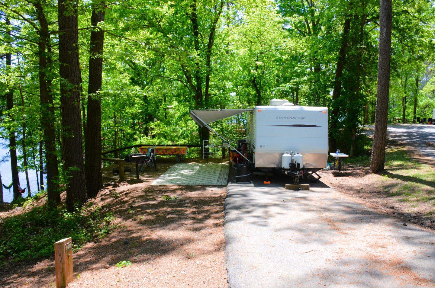 Driveway slope, awning-side clearance.McKinney Campground, campsite 147.