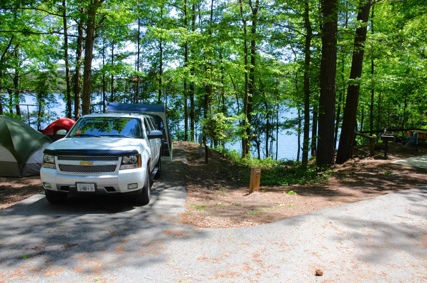 Driveway entrance angle/slope, utilities-side clearance.McKinney Campground, campsite 148.