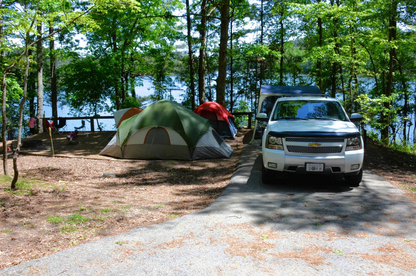 Driveway slope, awning-side clearance.McKinney Campground, campsite 148.