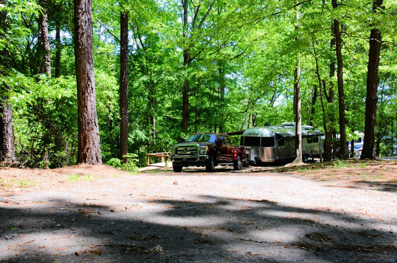Pull-thru exit, driveway slope.McKinney Campground, campsite 150.