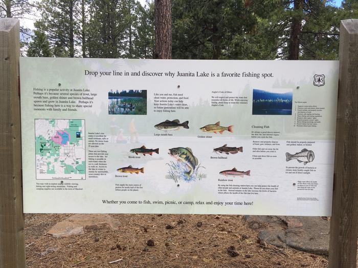 Juanita Lake Fish Species InformationJuanita Lake Fish Species Sign