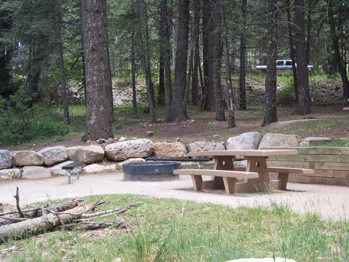 Aspen Group Campground picnic area with fire pit.