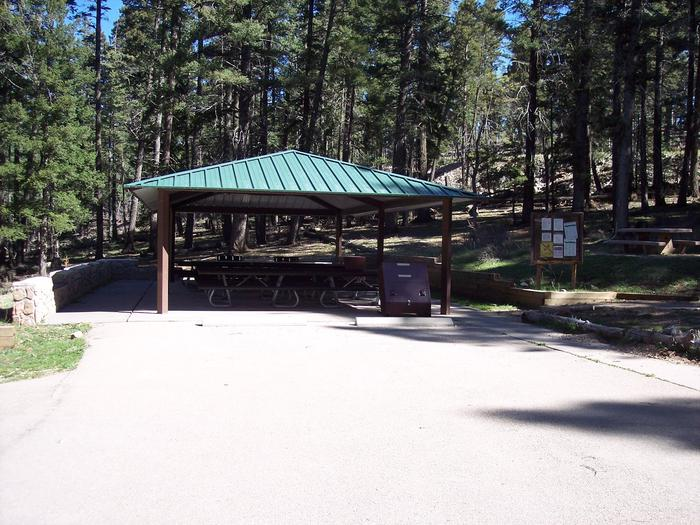 Aspen Group Campground ramada for group site.