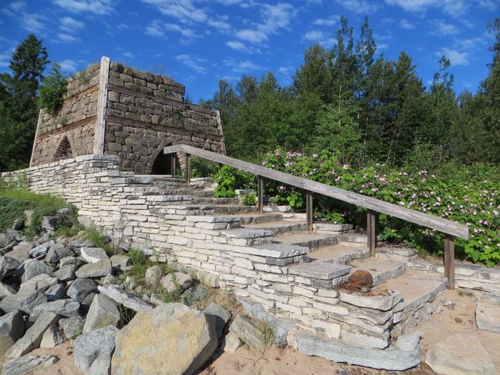 Bay Furnace Campground ruins. Walkway to the bay.
