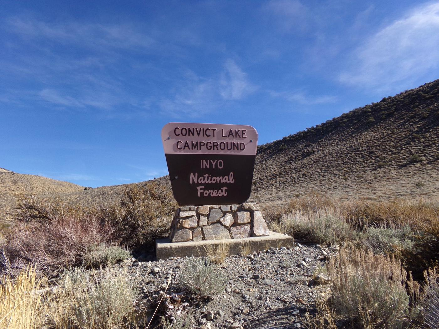 Convict Lake Campground entrance sign