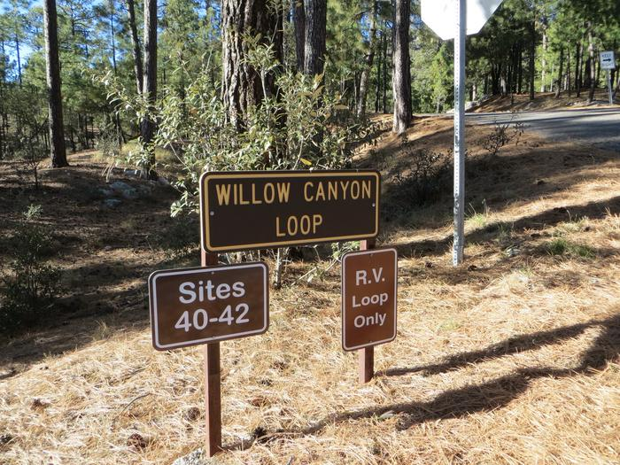 Sign for Willow Canyon Loop.Rose Canyon Lake Campground